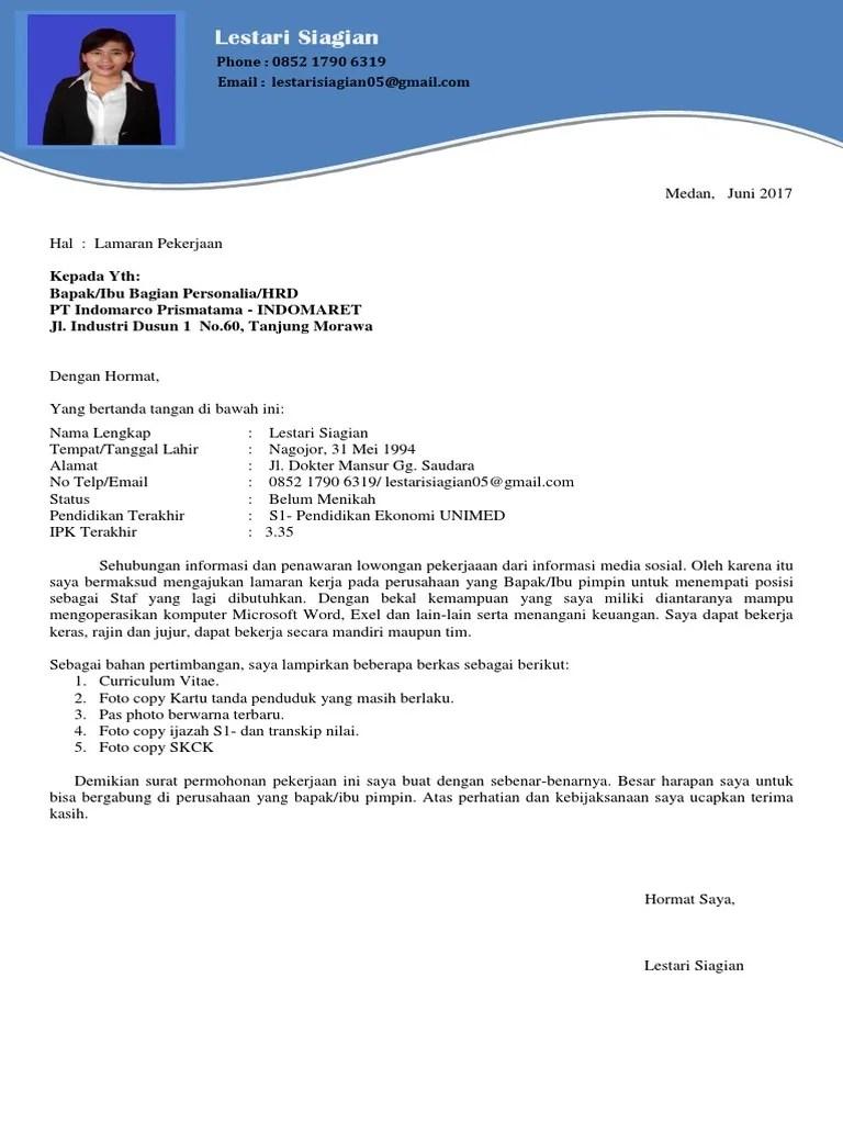 Contoh Surat Lamaran Kerja Pt Indomarco Prismatama Bagi Contoh Surat Cute766
