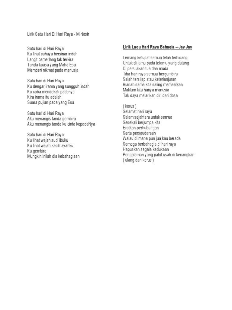 Lirik Lagu Selamat Hari Lebaran : lirik, selamat, lebaran, Lirik