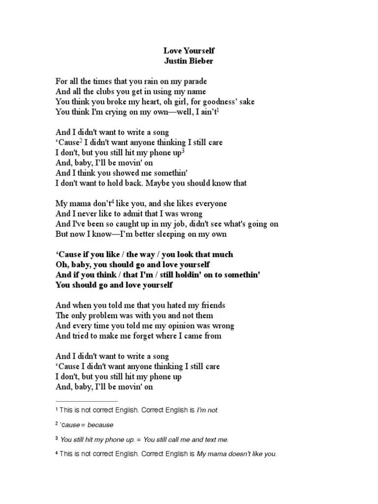 Baby You Know Big Mama Lyrics : lyrics, Love-yourself-lyrics.pdf, Yourself, Recorded, Music