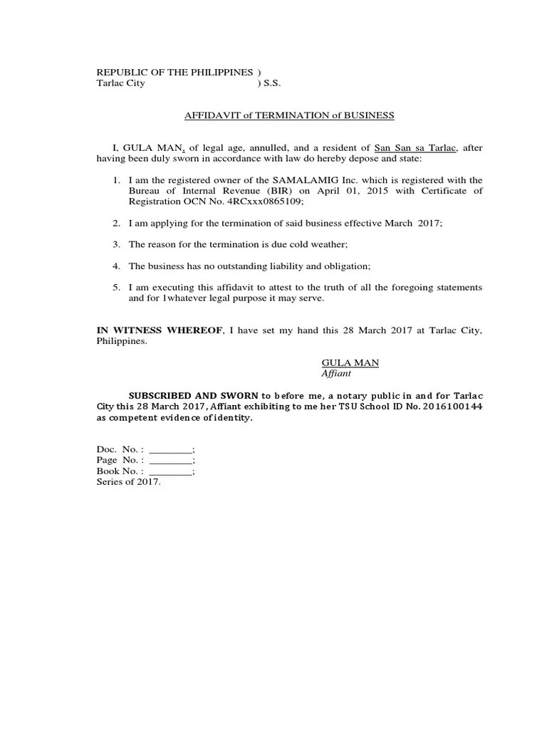 Affidavit Of Closure Of Business BIR