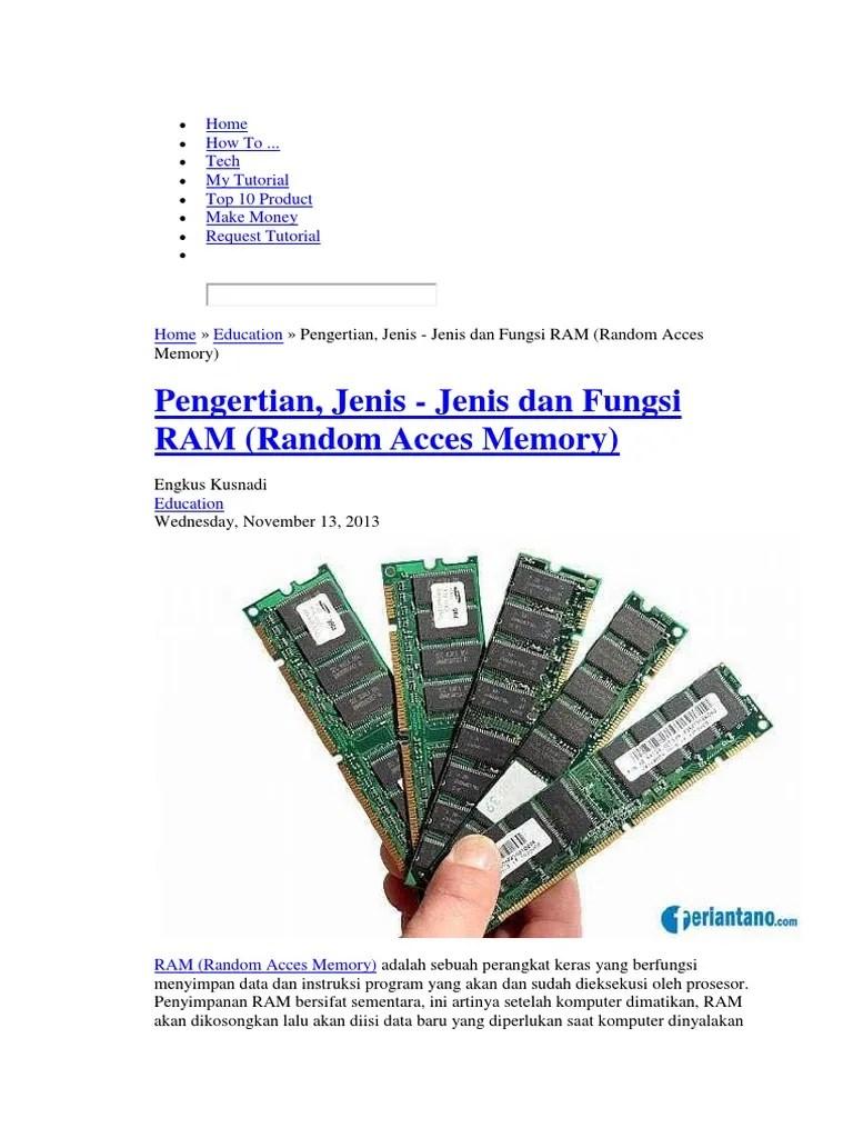 Jenis2 Ram : jenis2, Pengertian,, Jenis, Fungsi, (Random, Acces, Memory)