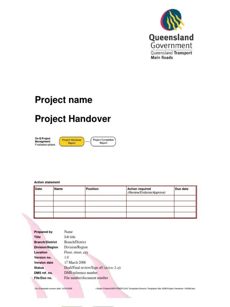 handover template form