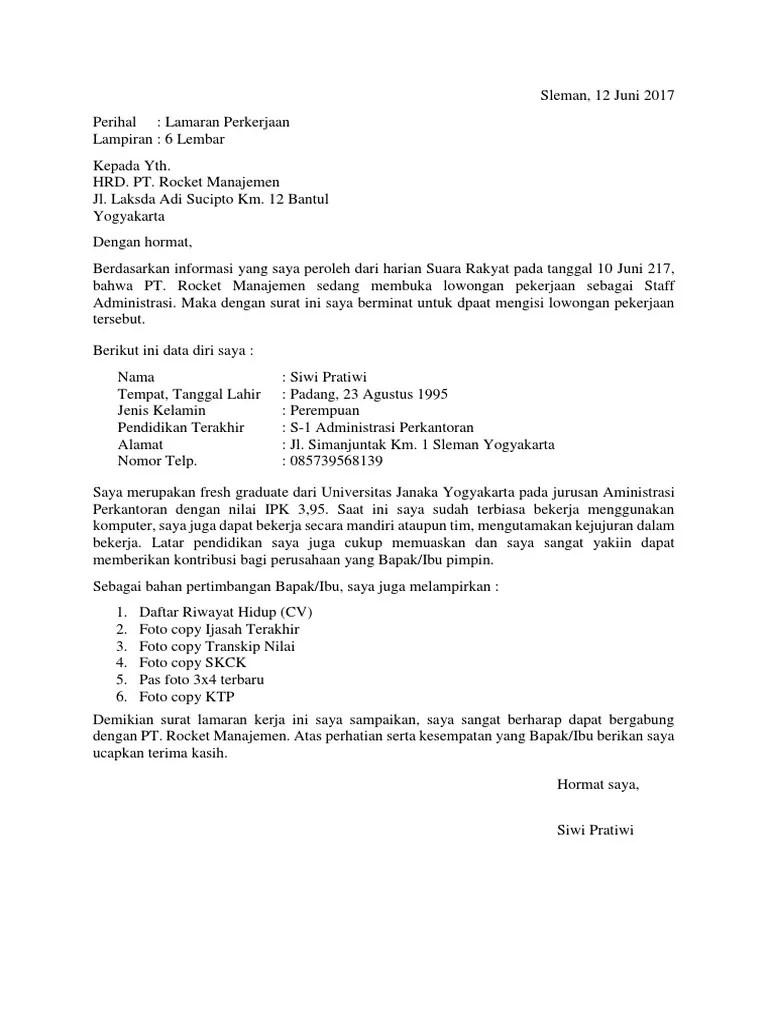 Surat Lamaran Kerja Fresh Graduate : surat, lamaran, kerja, fresh, graduate, Contoh, Surat, Lamaran, Kerja, Fresh, Graduate
