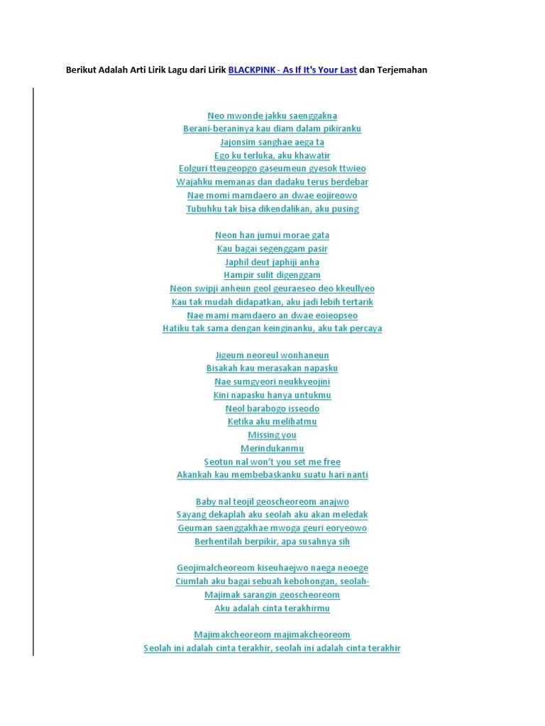 Lirik Lagu Blackpink As If It's Your Last Dan Terjemahannya : lirik, blackpink, terjemahannya, Lirik, Blackpink