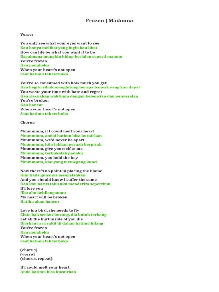 Tiada Sepertimu Lirik : tiada, sepertimu, lirik, Pendidikan:, Lirik, Frozen