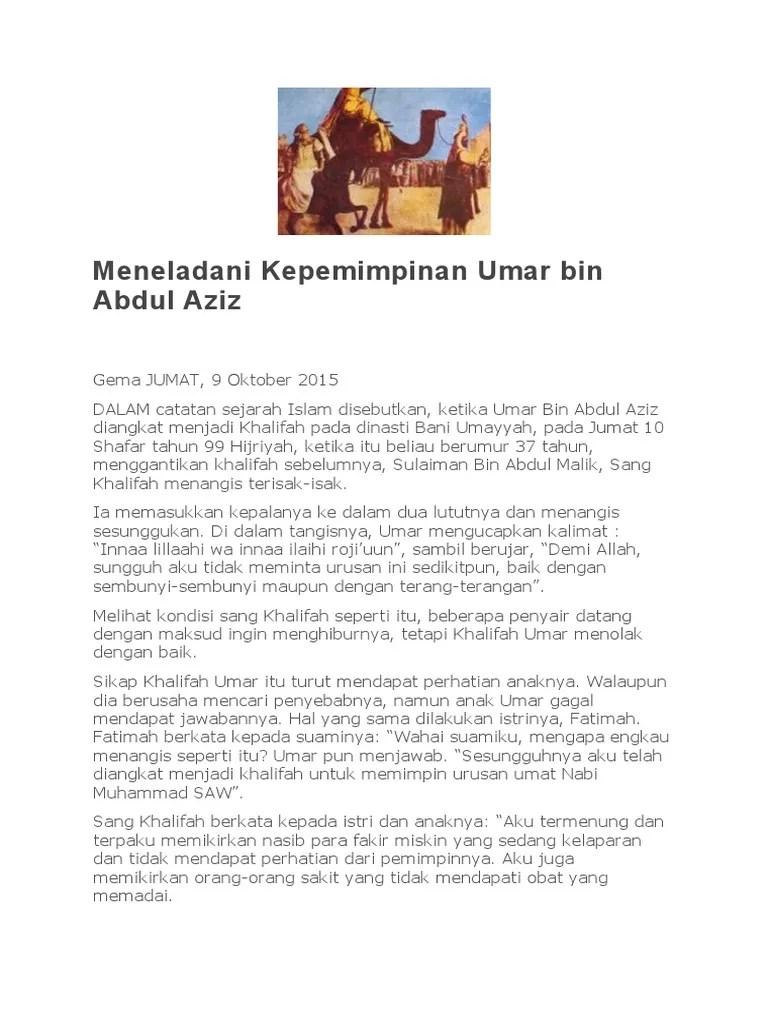 Pola Kepemimpinan Umar bin Abdul Aziz - Blogger