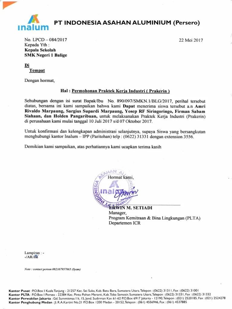 Surat Balasan Pkl Dari Perusahaan Doc : surat, balasan, perusahaan, Contoh, Surat, Balasan, Sekolah, Cute766
