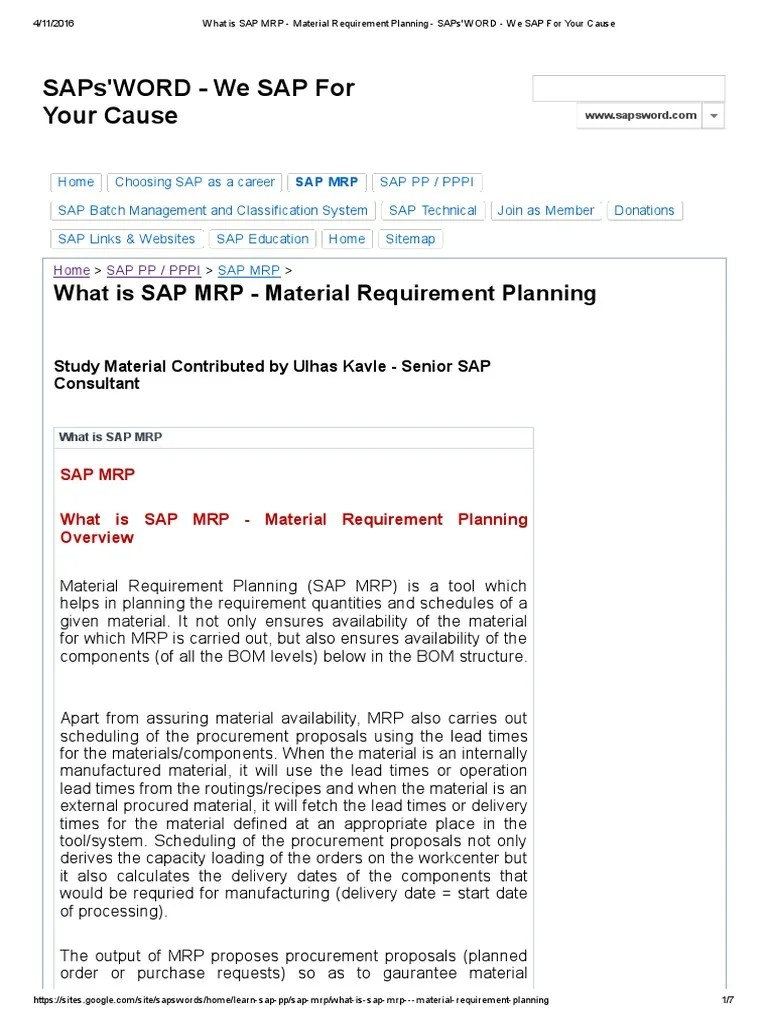 sap mrp material requirement planning enterprise resource planning production and manufacturing [ 768 x 1024 Pixel ]