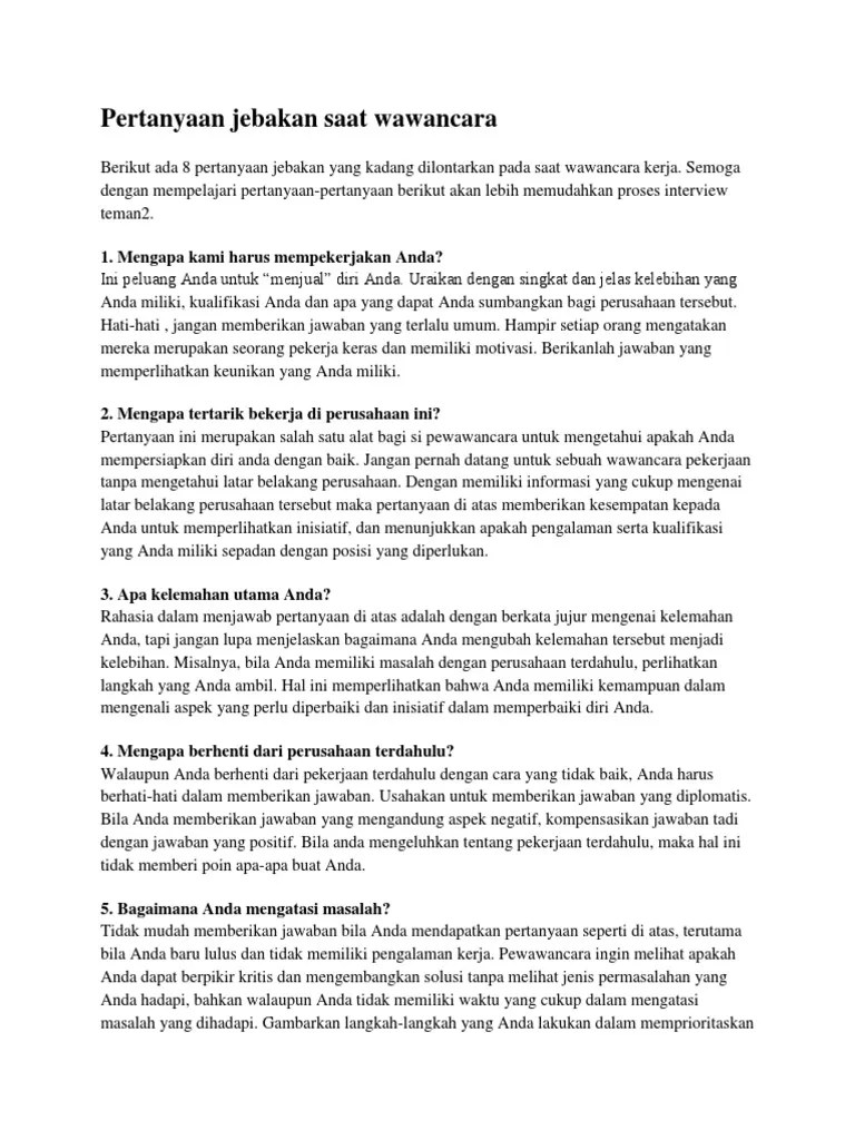 Langkah Langkah Sebelum Wawancara : langkah, sebelum, wawancara, Pertanyaan, Interview