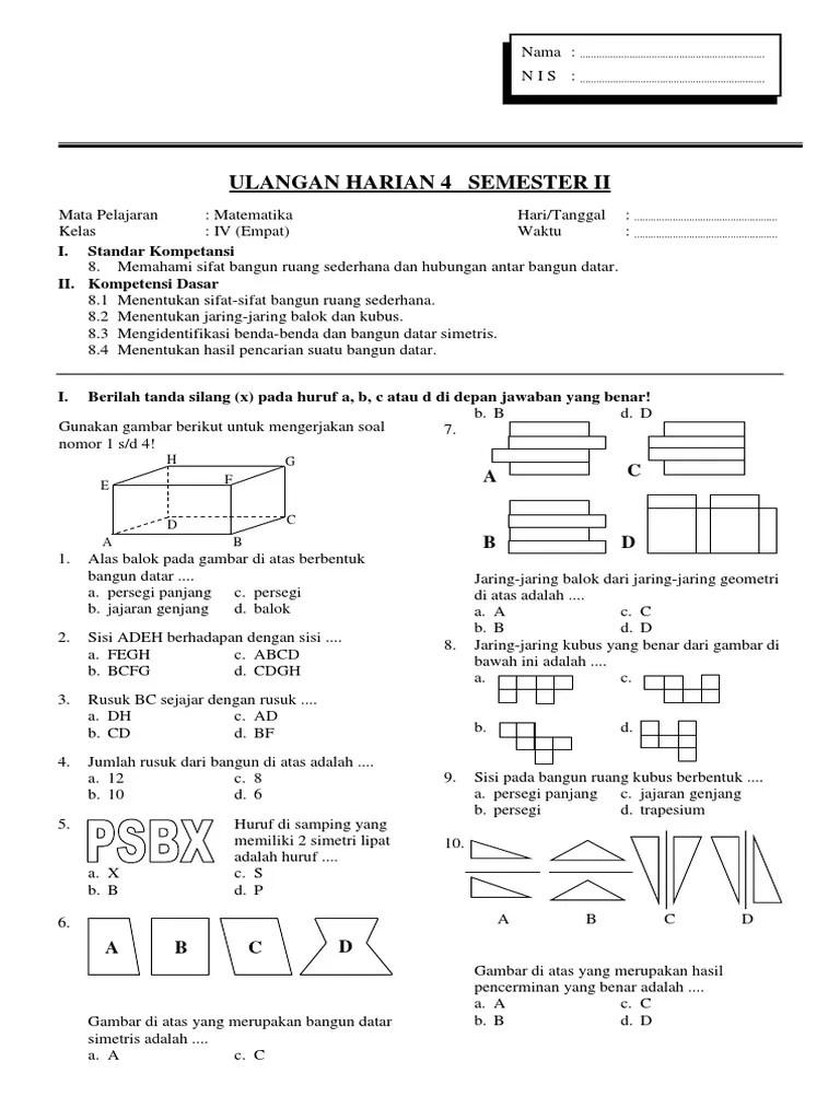 Contoh Soal Jaring-jaring Kubus Dan Balok Kelas 5 Sd : contoh, jaring-jaring, kubus, balok, kelas, SOAL-MATEMATIKA-KELAS-IV-SD-BAGIAN-4.docx