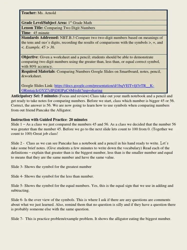 small resolution of comparing numbers lesson plan   Lesson Plan   Cognitive Science