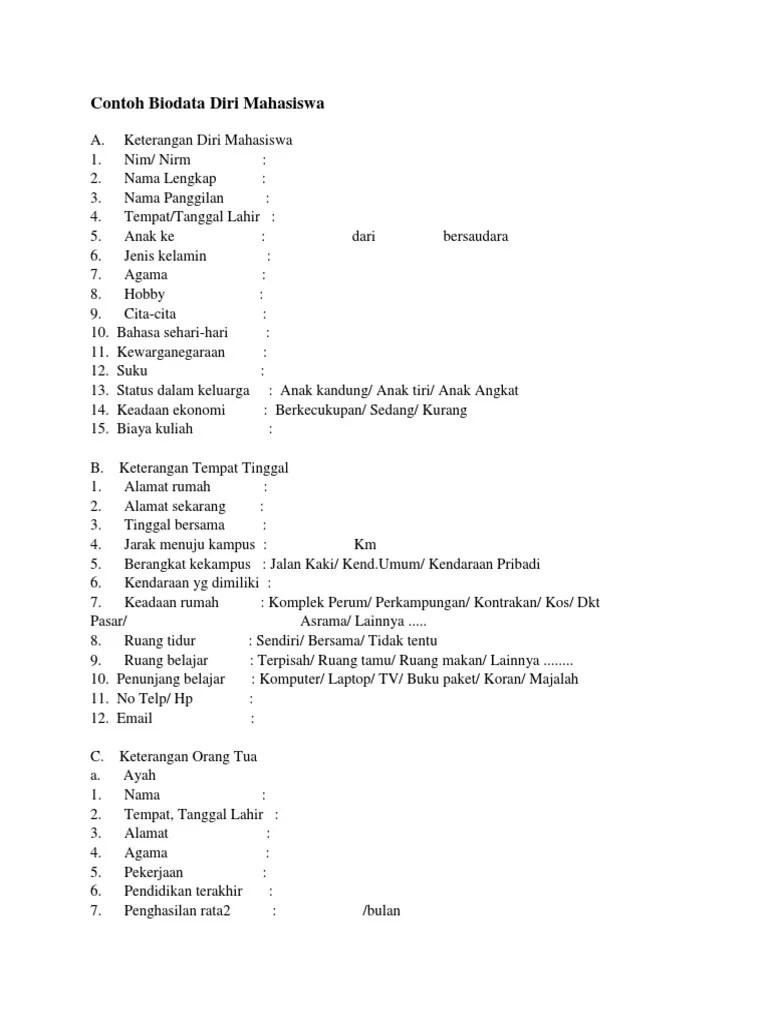 Format Biodata Diri : format, biodata, Contoh, Biodata, Sendiri, Resource