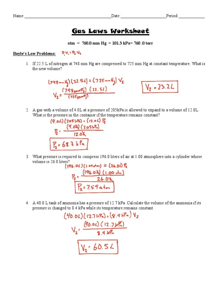 Gas Laws Worksheet Answer Key