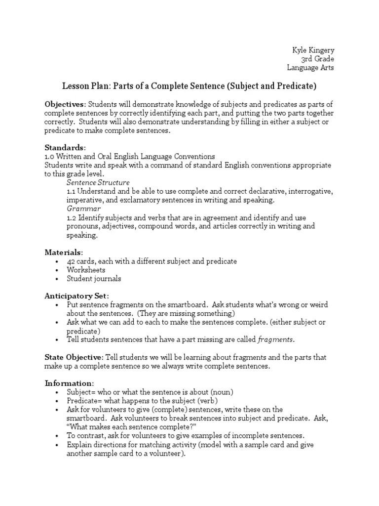 hight resolution of tech lesson plan 1   Subject (Grammar)   Predicate (Grammar)