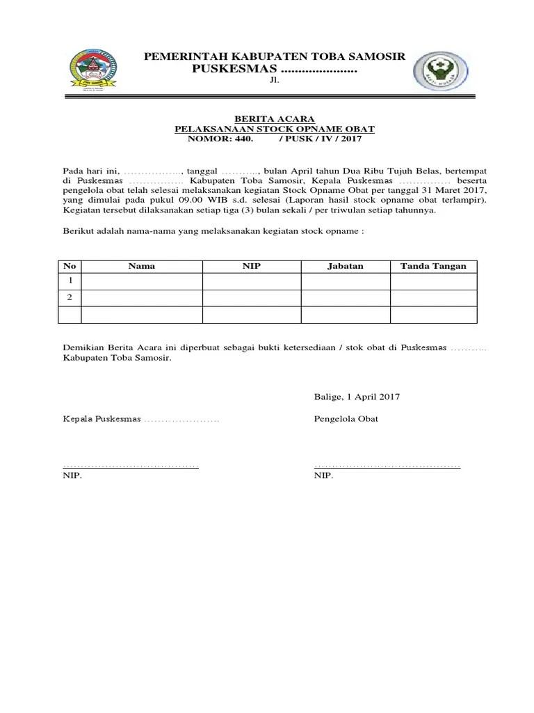 Contoh Surat Berita Acara Stock Opname Barang Surat 27 Cute766