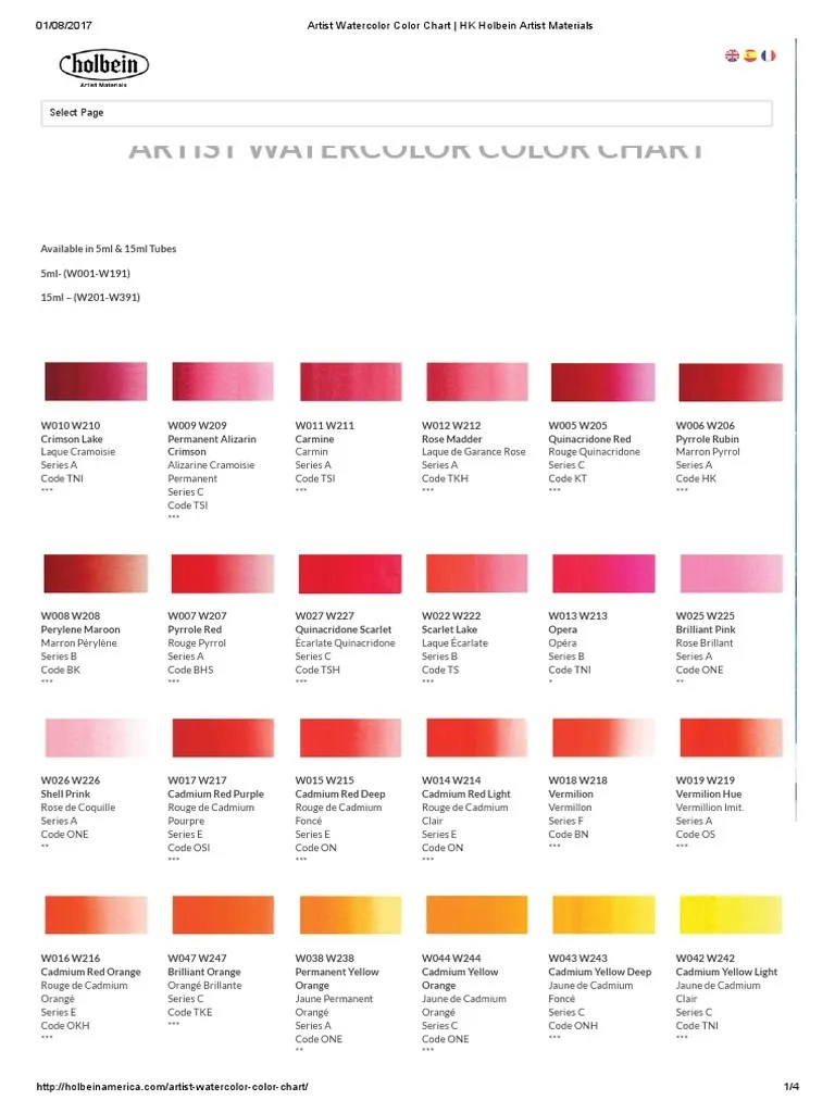 Artist Watercolor Color Chart _ HK Holbein Artist Materials | Red | Green