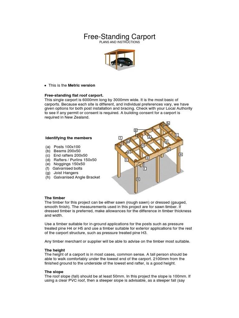 Carport Free Standing Flat Roof Pdf Lumber Framing