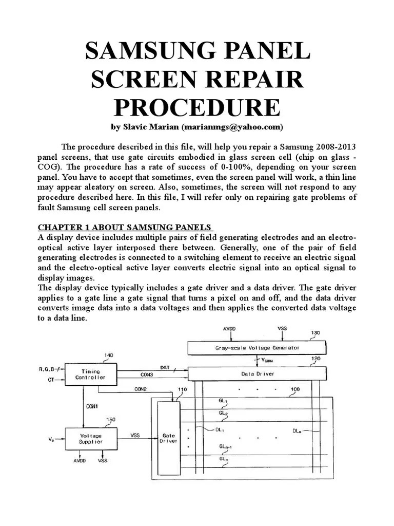 small resolution of samsung panel repair v1 7 field effect transistor printed circuit board