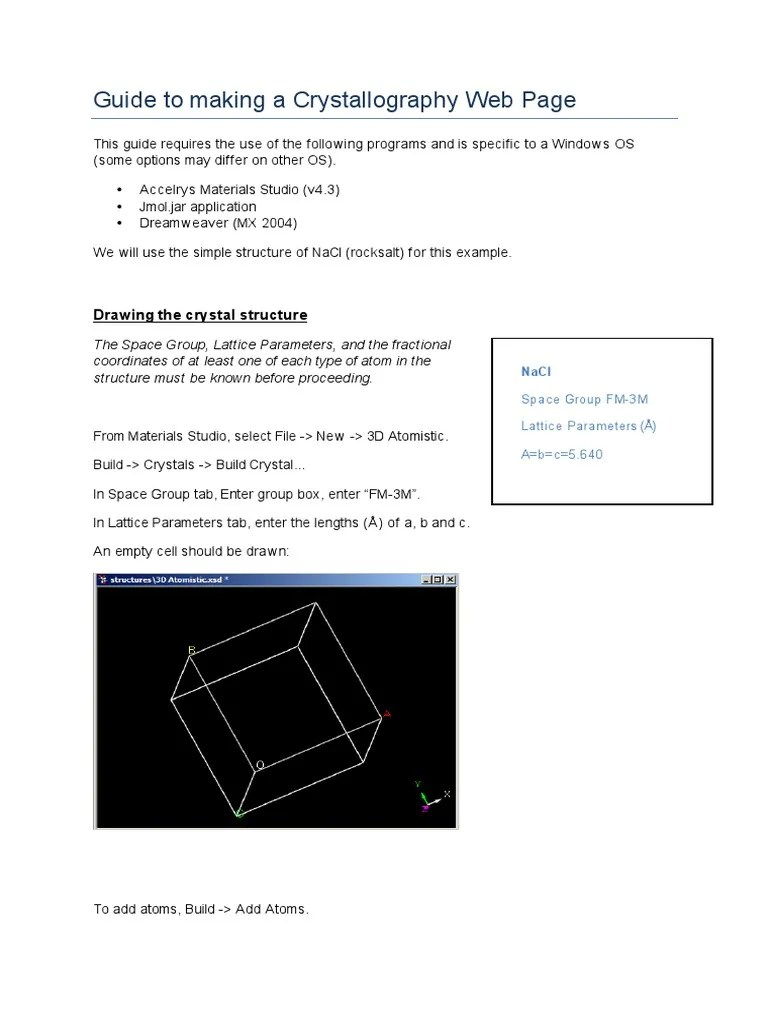 guide to making a crystallography web page crystal structure crystallography [ 768 x 1024 Pixel ]