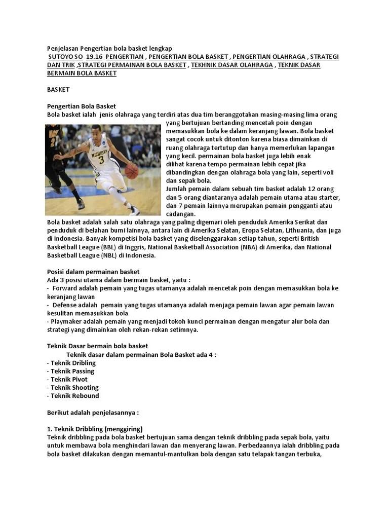 Sebutkan Teknik Dasar Dalam Permainan Bola Basket : sebutkan, teknik, dasar, dalam, permainan, basket, Sebut, Jelaskan, Teknik, Dasar, Basket, Sebutkan