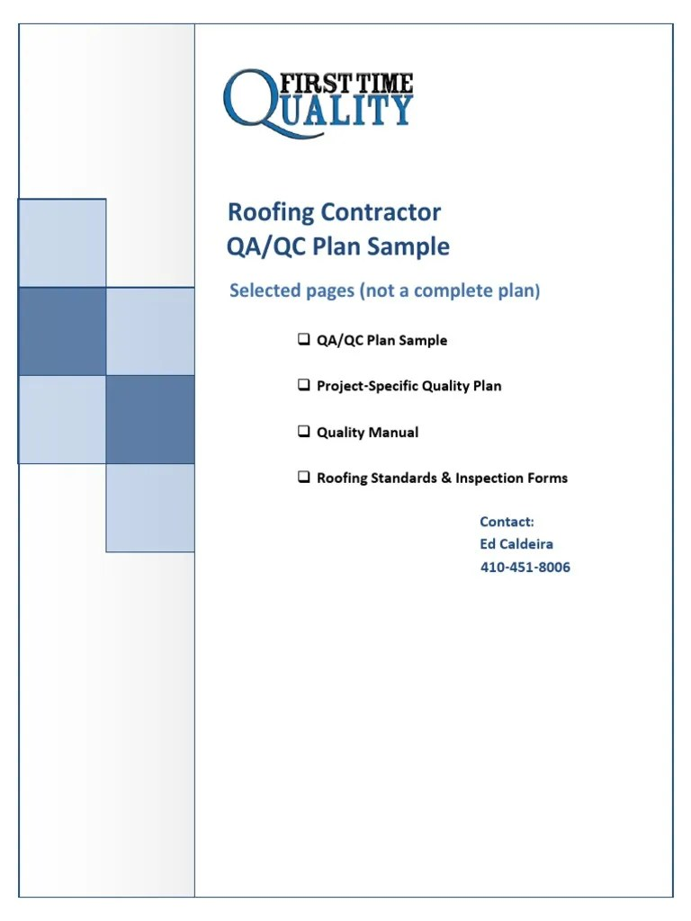 hight resolution of roofing quality control plan sample quality assurance specification technical standard