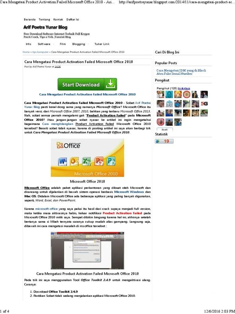 Cara Mengatasi Office 2010 Product Activation Failed : mengatasi, office, product, activation, failed, Mengatasi, Product, Activation, Failed, Microsoft, Office, Poetra, Yunar, Blog.pdf