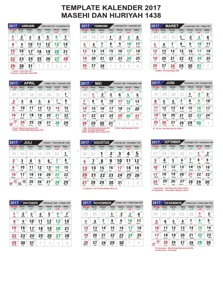 Kalender Hijriyah 2017 : kalender, hijriyah, Template, Kalender, Lengkap, Hijriyah, Libur