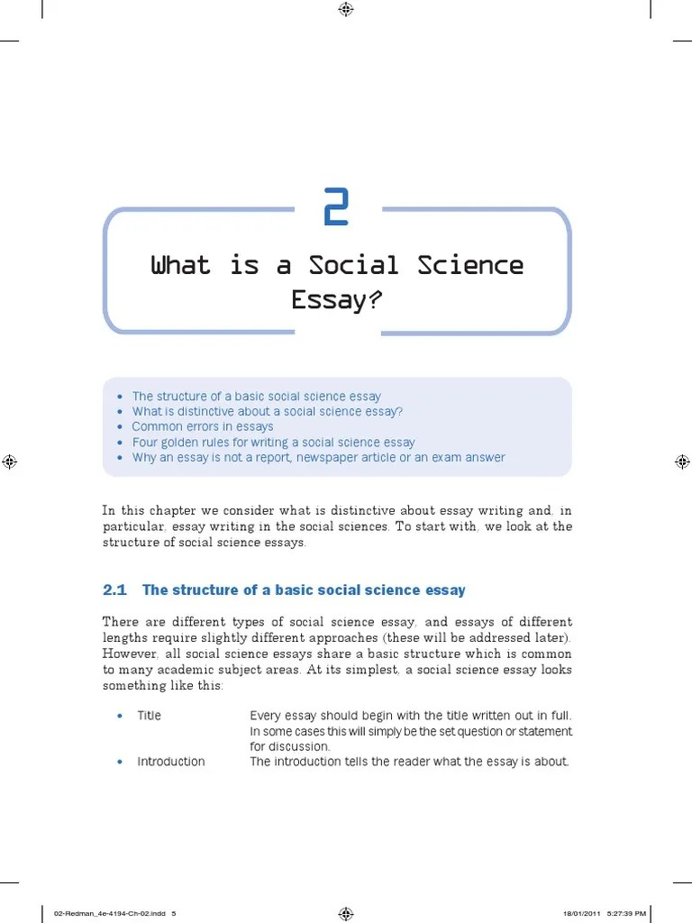 Science Essay Format How To Write A Social Science Essay Pdf Essays Social Sciences