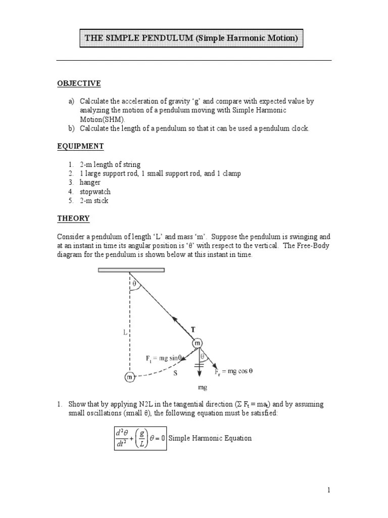 small resolution of lab the simple pendulum pendulum trigonometric functions simple pendulum with cord of length l shown with free body diagram