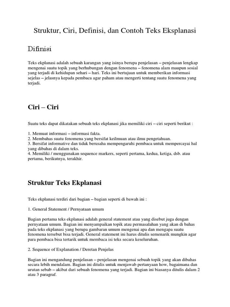 Teks Eksplanasi Ditulis Untuk Menjawab Pertanyaan : eksplanasi, ditulis, untuk, menjawab, pertanyaan, Struktur,, Ciri,, Definisi,, Contoh, Eksplanasi