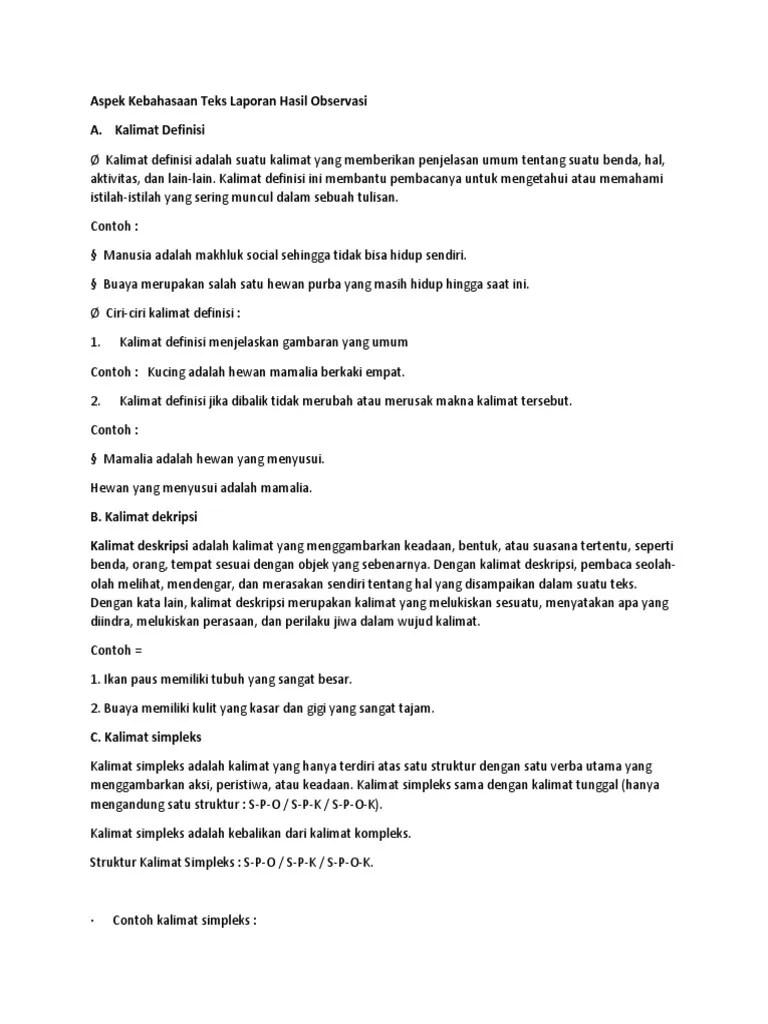 Ciri Kebahasaan Teks Laporan Hasil Observasi : kebahasaan, laporan, hasil, observasi, Struktur, Kebahasaan, Laporan, Hasil, Observasi, Bahasa, Indonesia, Kelas, Cute766