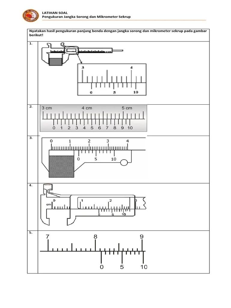 Pengukuran Mikrometer Sekrup : pengukuran, mikrometer, sekrup, Nyatakan, Hasil, Pengukuran, Panjang, Benda, Dengan, Jangka, Sorong, Mikrometer, Sekrup, Gambar, Berikut