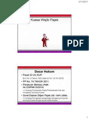 Pmk 229/pmk.03/2014 Pdf : 229/pmk.03/2014, Surat, Kuasa