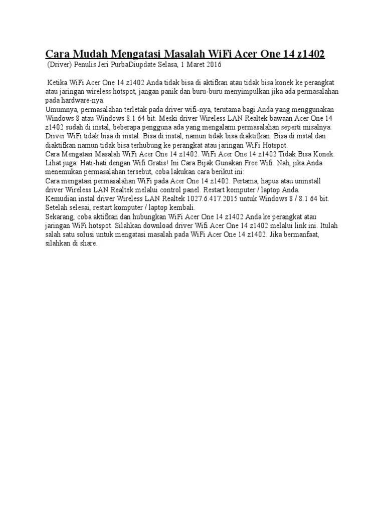 Acer One 14 Z1402 Driver : z1402, driver, Mudah, Mengatasi, Masalah, Z1402