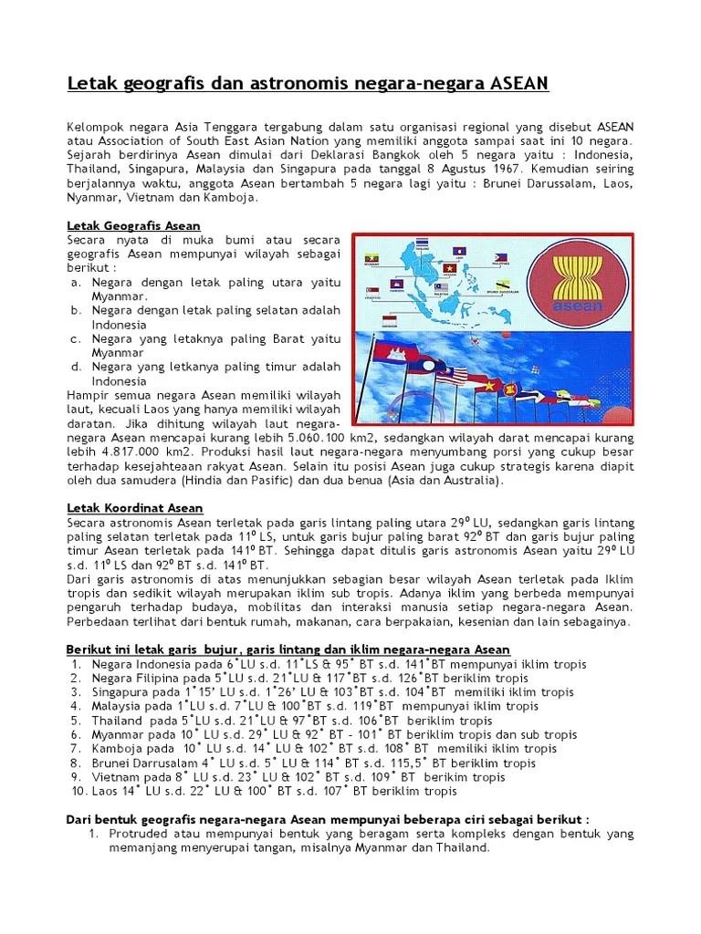 Letak Astronomis Asean : letak, astronomis, asean, Letak, Geografis, Astronomis, Negara, Asean.docx