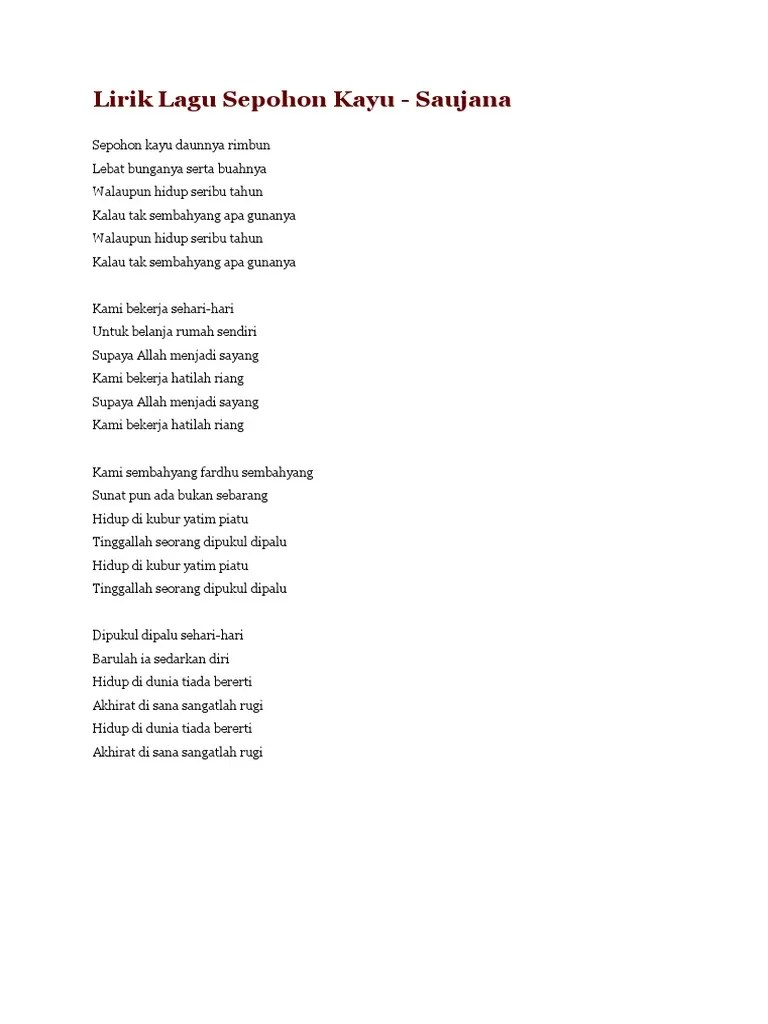 Lirik Lagu 'Sepohon Kayu' yang Dipopulerkan oleh... - Sonora.id