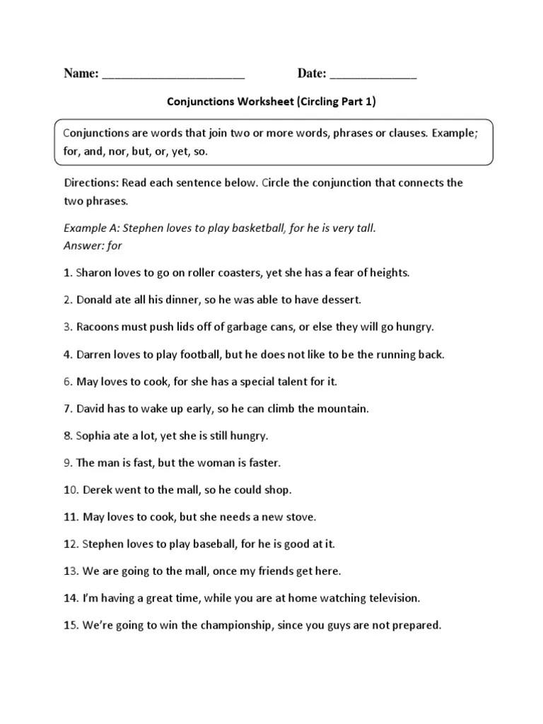 medium resolution of Conjunctions Circling P 1 Intermediate