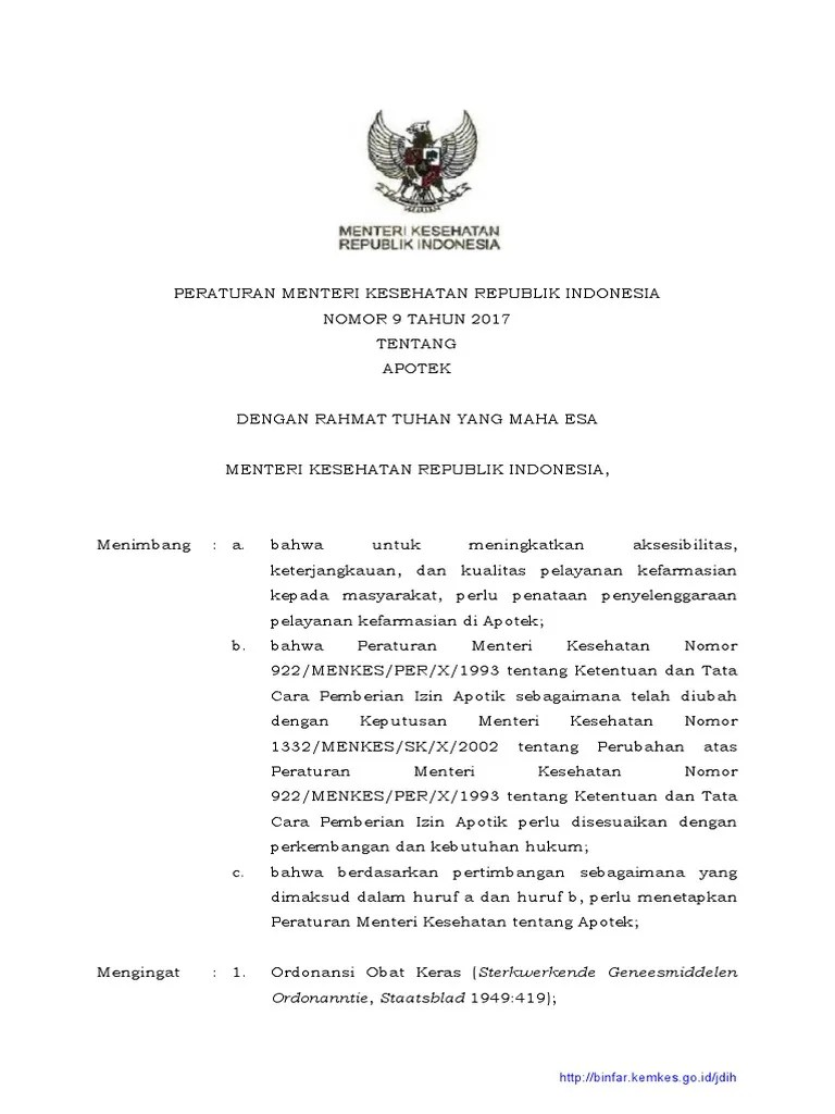Permenkes Nomor 9 Tahun 2017 Tentang Apotek Pdf : permenkes, nomor, tahun, tentang, apotek, Permenkes, 9-2017, Apotek