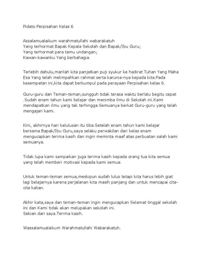 Pidato Perpisahan Kelas 6 Bahasa Indonesia : pidato, perpisahan, kelas, bahasa, indonesia, Pidato, Perpisahan, Pendek