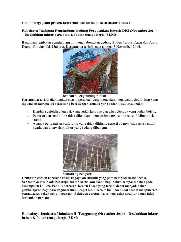 Contoh Proyek Konstruksi Bangunan Gedung : contoh, proyek, konstruksi, bangunan, gedung, Contoh, Kegagalan, Proyek, Konstruksi, Akibat, Salah, Faktor