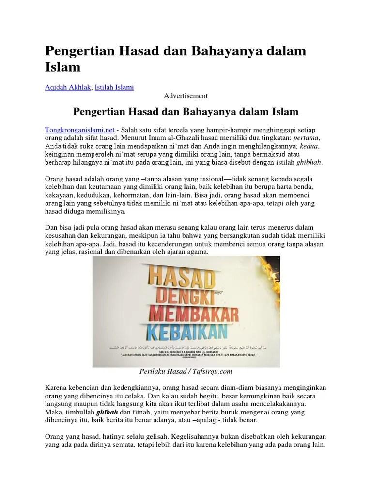 Pengertian Hasad : pengertian, hasad, Pengertian, Hasad, Bahayanya, Dalam, Islam