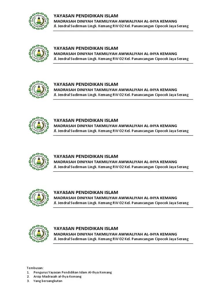 Contoh Kop Surat Yayasan : contoh, surat, yayasan, Contoh, Surat, Yayasan, Islam