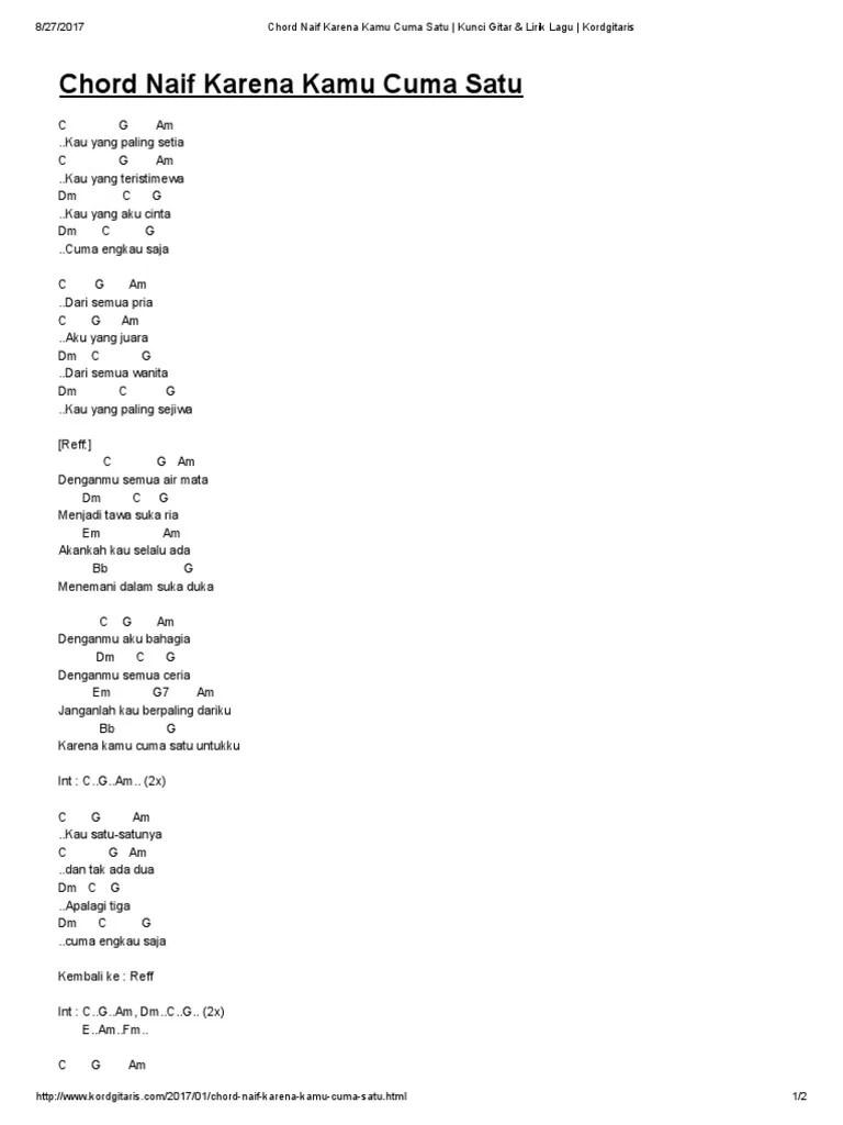 Chord Gitar Naif Cinta Untuknya : chord, gitar, cinta, untuknya, Chord, Karena, Dalam