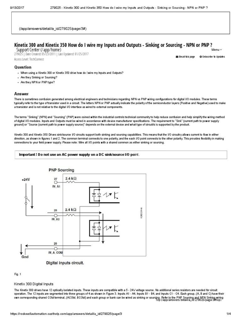 kinetix 300 wire inputs and outputs sinking or sourcing npn or pnp bipolar junction transistor power supply [ 768 x 1024 Pixel ]