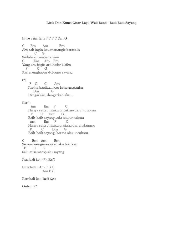 Chord Gitar Wali Baik Baik Sayang : chord, gitar, sayang, Lirik, Kunci, Gitar