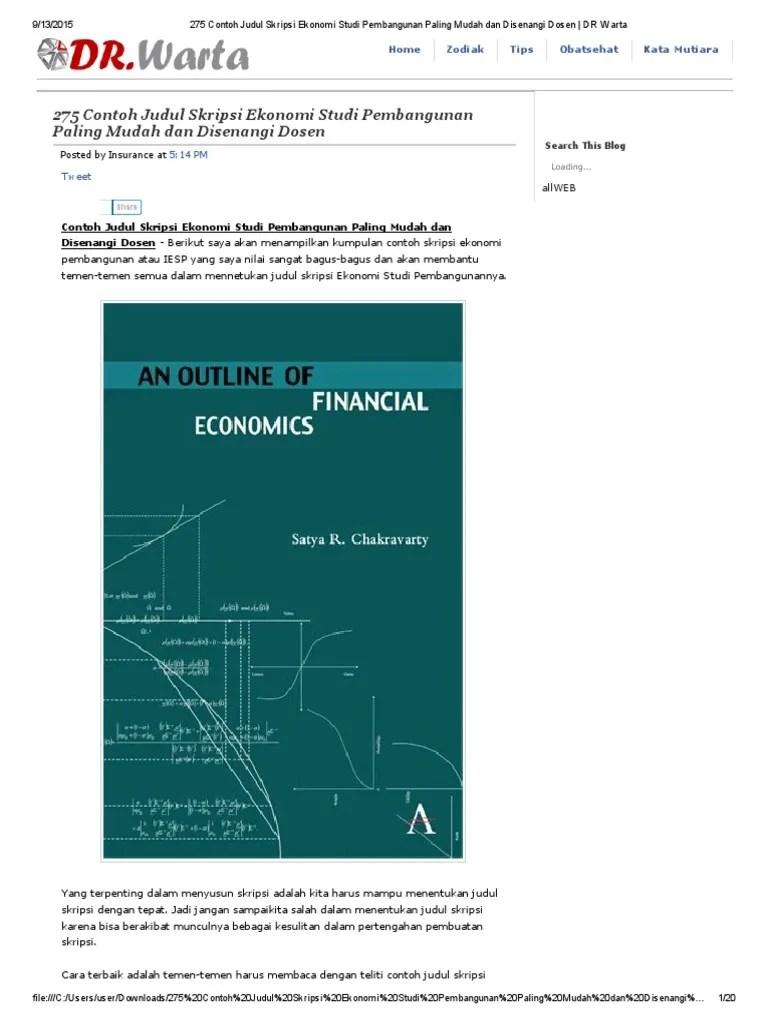 Contoh Skripsi Ekonomi Pembangunan Konsentrasi Keuangan Daerah Pejuang Skripsi Cute766