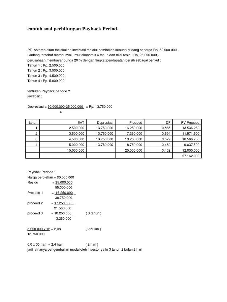 Contoh Soal Payback Period : contoh, payback, period, Contoh, Perhitungan, Payback, Period.docx