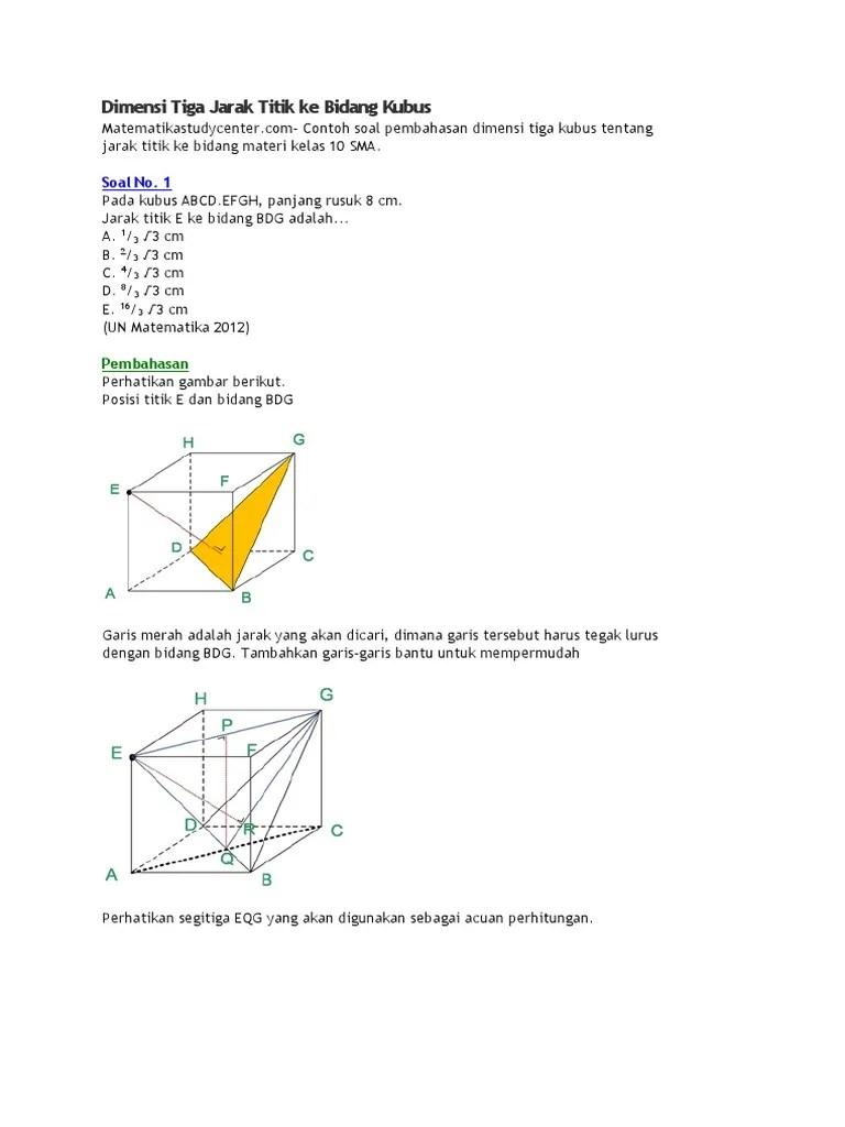 Jarak Titik Ke Bidang : jarak, titik, bidang, Dimensi, Jarak, Titik, Bidang, Kubus
