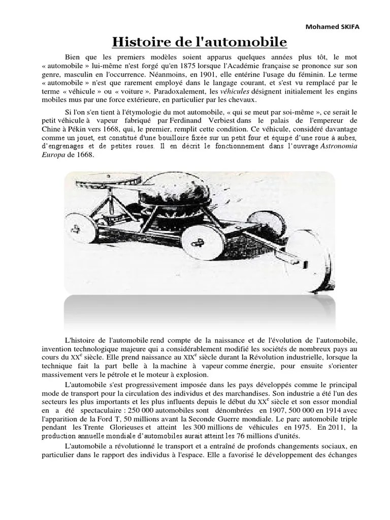 Histoire De L Automobile Pdf : histoire, automobile, Histoire, L'Automobile, Mohamed, SKIFA.pdf, Voitures, Transport