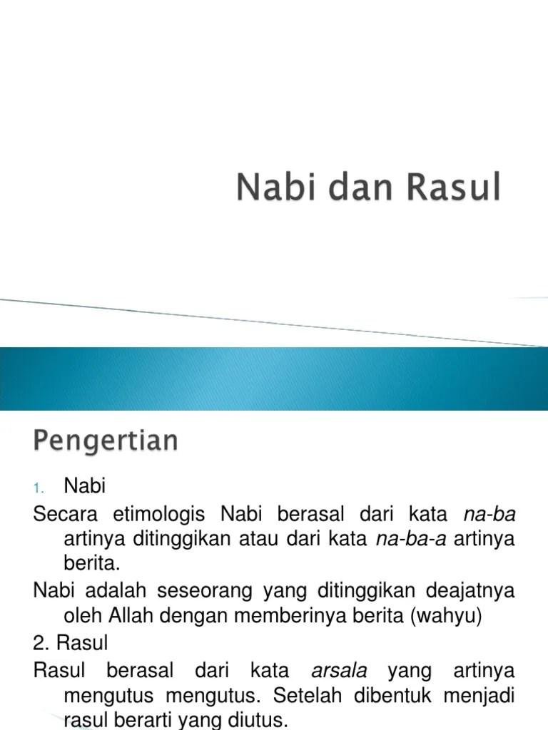 Pengertian Nabi Dan Rasul : pengertian, rasul, Rasul